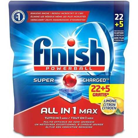 Finish All in 1 Max Pastiglie Lavastoviglie, Limone, 22+5 Tabs