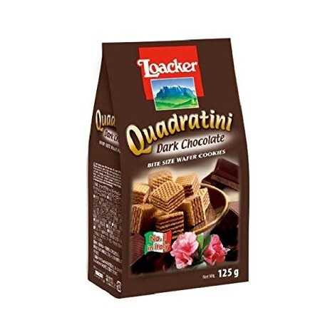 Loacker Dark Chocolate Quadratini Wafer Biscuits 125 g (Pack of 6)